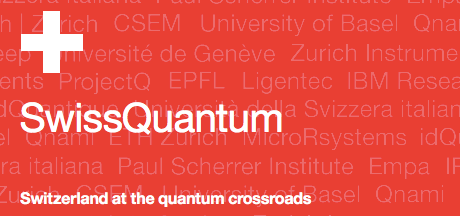 Logo fo the Swiss Quantum convention. Switzerland at the quantum crossroads.