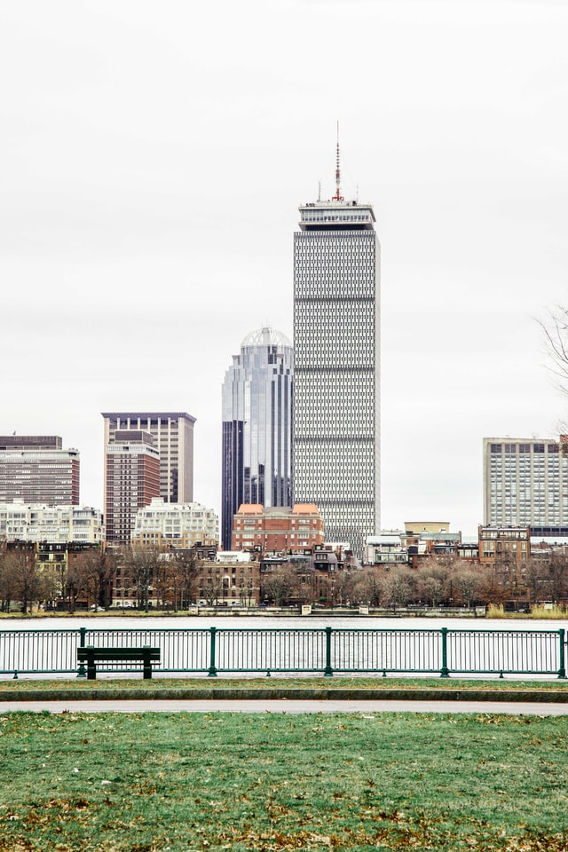 View of the city of Boston from across the river