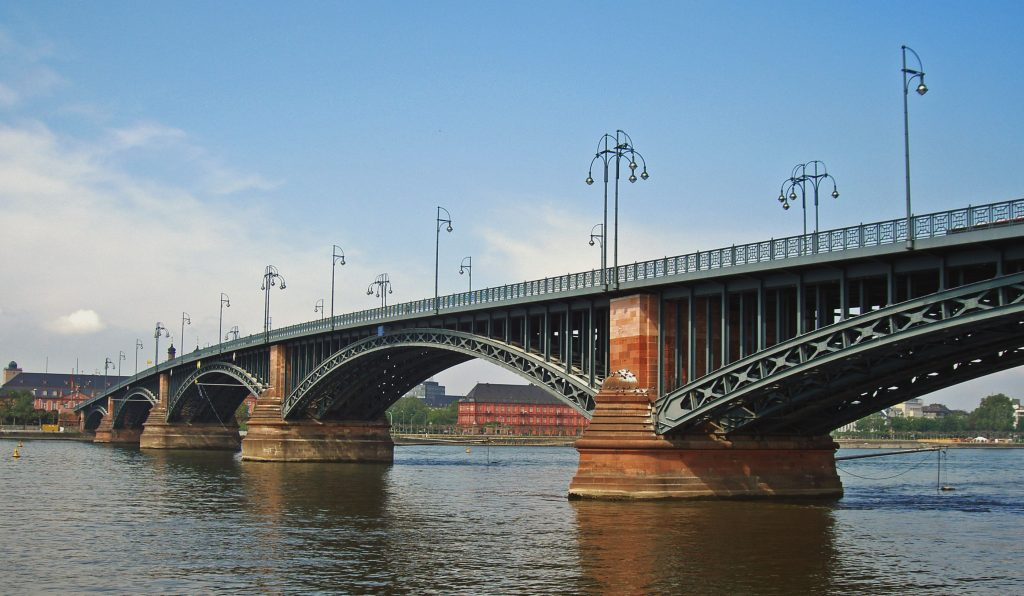 Theodor Heuss Bridge in Mainz view from the river