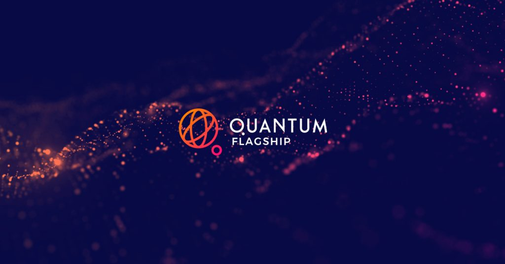 Dark purple background with sparkling illustration and logo of Qunatum Flagship