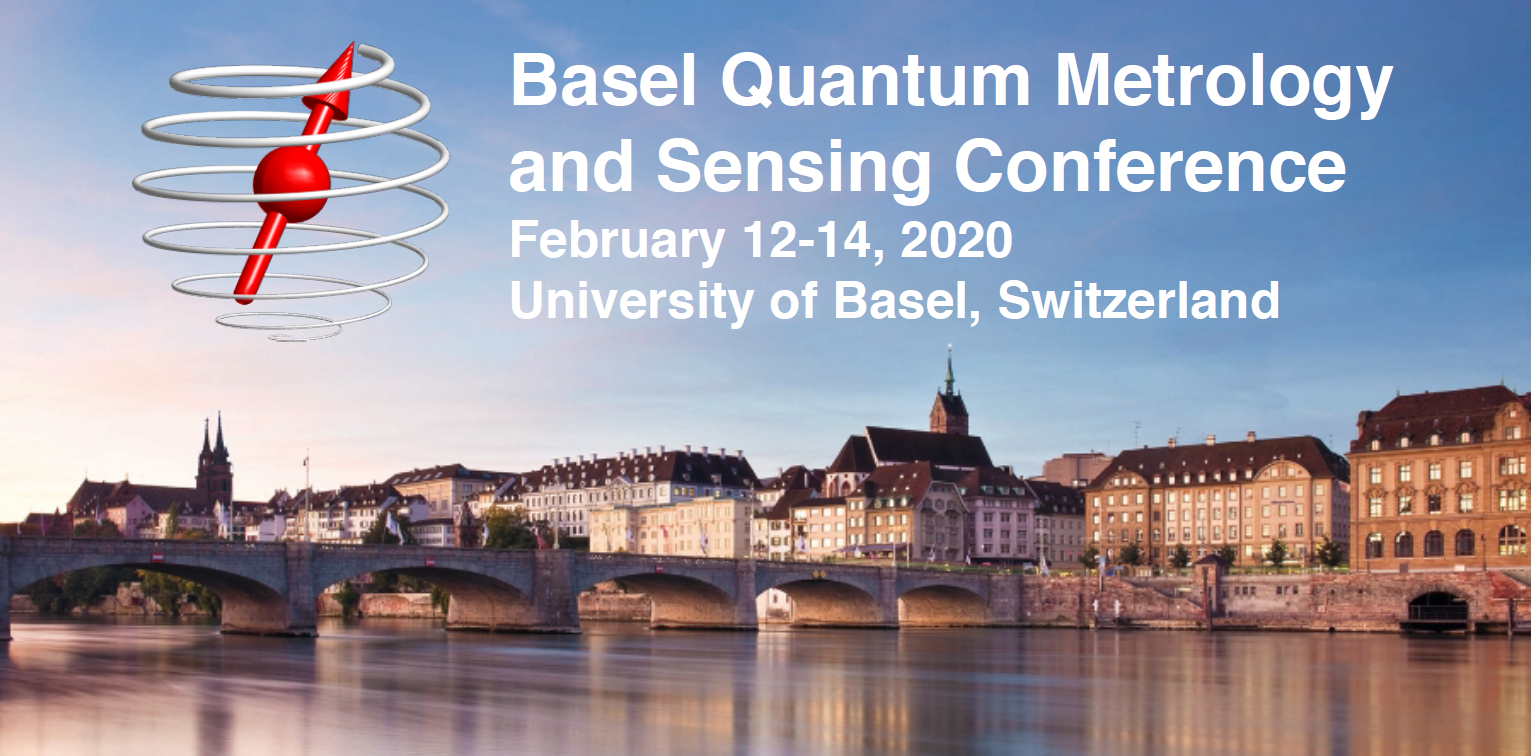 Banner of the Basel Quantum Metrology and Sensing Conference 2020 at the University of Basel. Panoramic view of Basel from the Rhein in the background