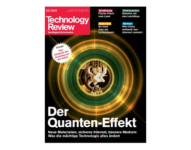 Front page of the Technology Review magazine - Der Quanten-Effekt