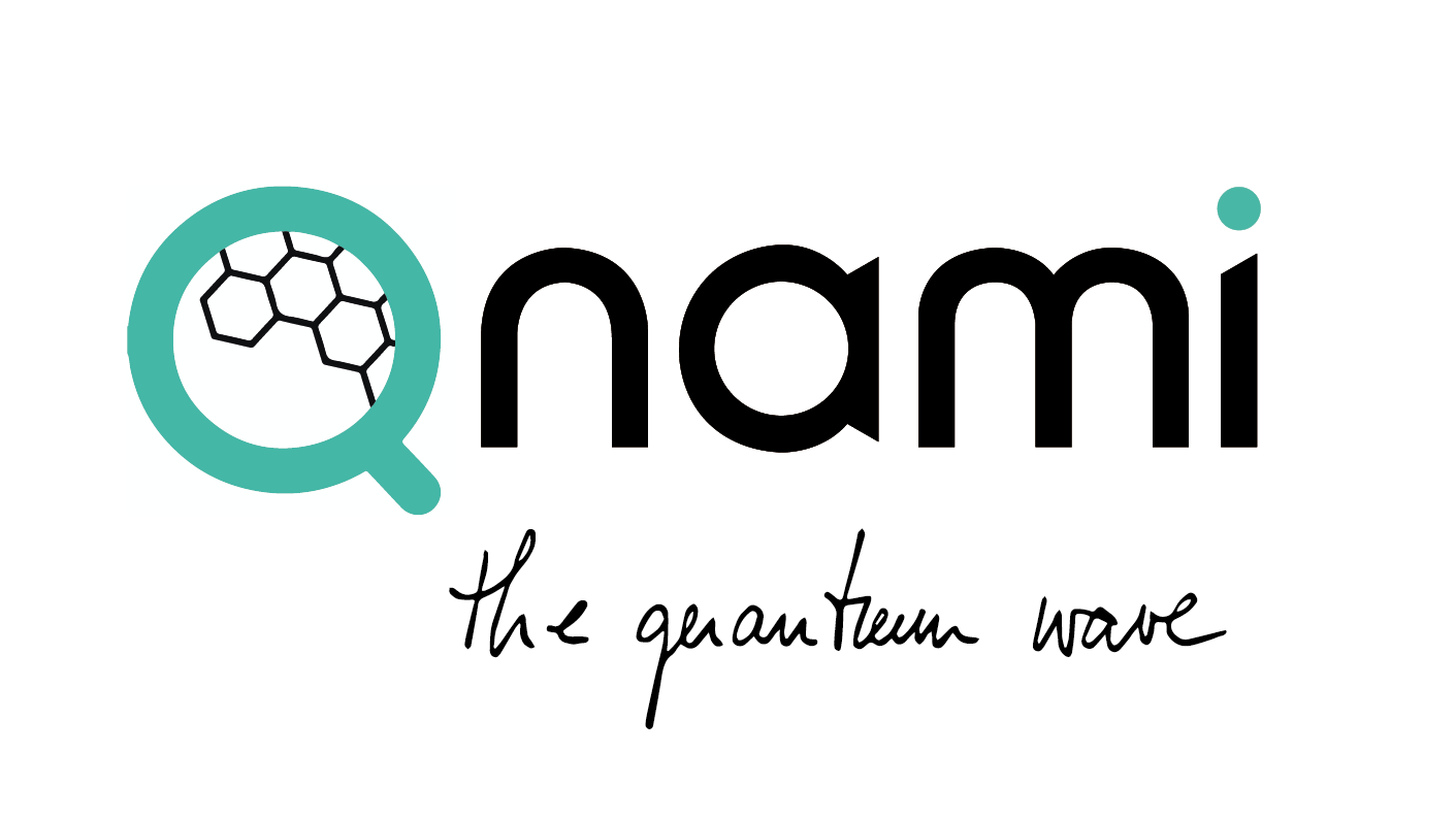 Qnami logo and claim the quantum wave